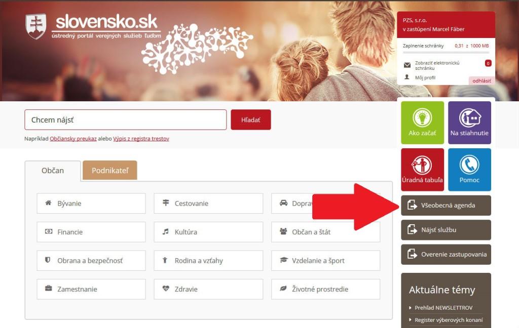uvodna stranka www.slovensko.sk